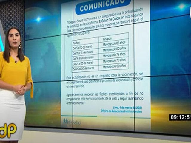 COVID-19: EsSalud iniciará segunda etapa de vacunación desde el 8 de marzo