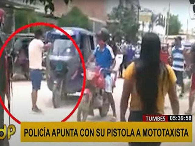 Tumbes: policía de civil causa pánico al sacar arma para intervenir a mototaxista
