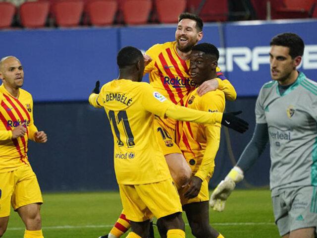 Sigue arrasando en la Liga: Barcelona vence 2-0 a Osasuna