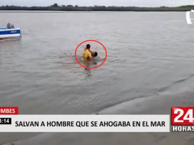 Tumbes: salvan a hombre que se ahogaba en el mar