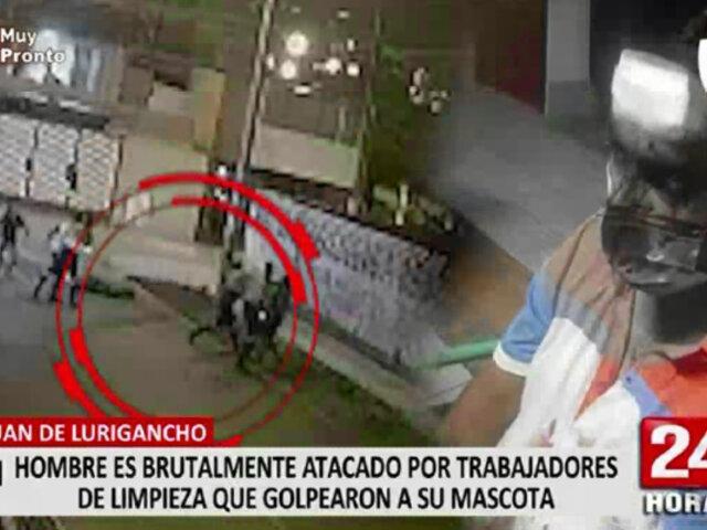 Recolectores de basura fueron captados golpeando a perro que les ladró en SJL