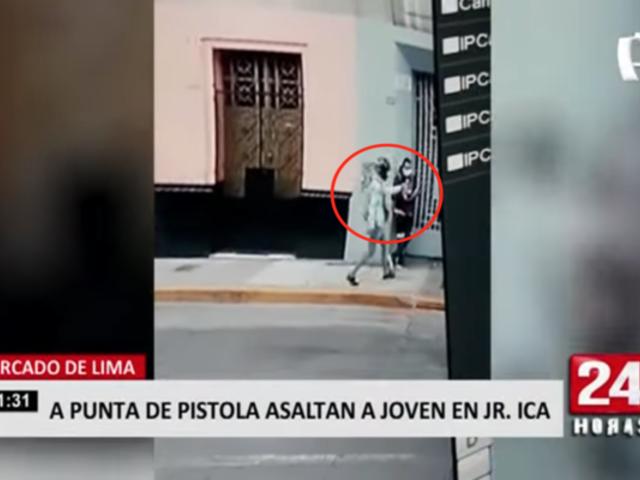 Cercado de Lima: a punta de pistola asaltan a joven en el jirón Ica