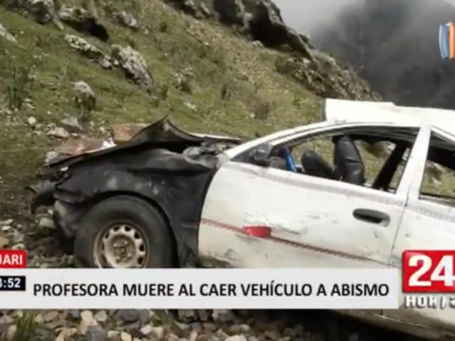 Profesora muere al caer vehículo a abismo en Huari
