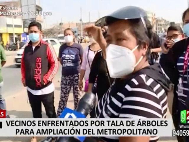 Comas: vecinos protestan porque quitaron 1.500 árboles para ampliación del Metropolitano