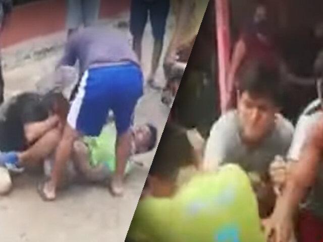 Tarapoto: sujeto en estado de ebriedad protagoniza violenta pelea callejera