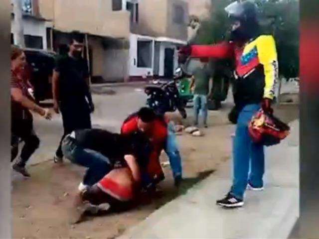 Cañete: mototaxistas extranjeros capturan y golpean a ladrón de celulares