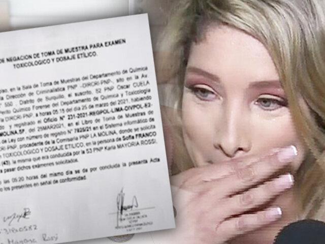Sofía Franco se negó a pasar examen toxicológico tras ser denunciada por presunta agresión