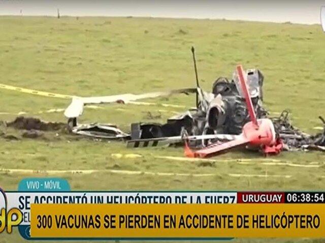 Uruguay: helicóptero militar pierde 300 vacunas Pfizer en accidente