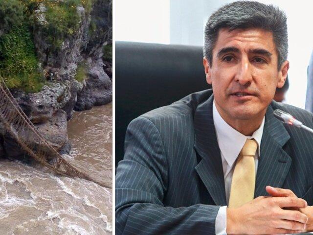 Obras de recuperación del puente Queshuachaca comenzarán el 15 de abril