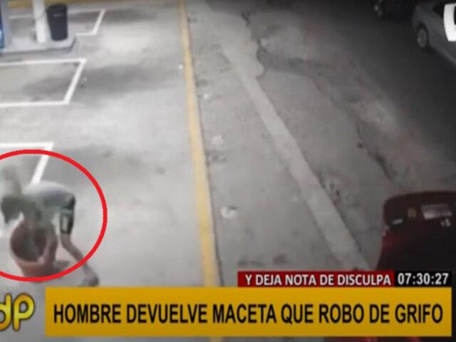 Hombre devuelve maceta que robó de grifo y deja nota pidiendo disculpas