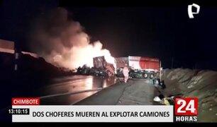 Chimbote: dos fallecidos dejó explosión ocasionada por el choque de camión y tráiler