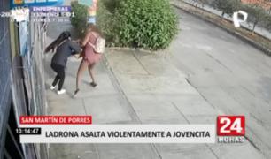 Ladrona asalta violentamente a jovencita en SMP