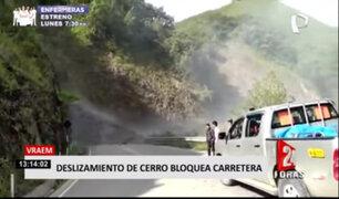 Deslizamiento de cerro bloqueó carretera Vraem - Ayacucho