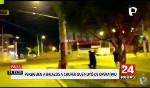 Piura: policías persiguen a balazos a conductor que huyó de operativo