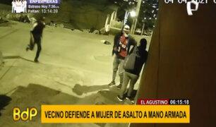 El Agustino: vecino defiende a mujer de asalto a mano armada