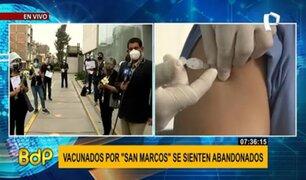 Voluntarios de San Marcos exigen que sean beneficiados con la vacuna