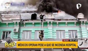Rusia: médicos realizan operación al corazón en pleno incendio de hospital
