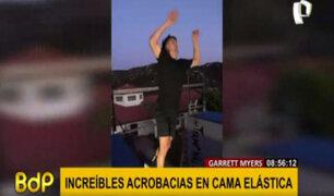 Garret Myers y sus increíbles acrobacias en una cama elástica