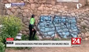 Cusco: desconocidos pintan grafiti en muro inca
