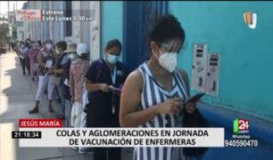 Colegio de Enfermeros: aglomeraciones y largas colas se registraron en jornada de vacunación