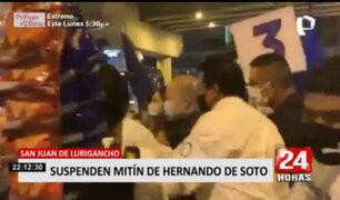 Elecciones 2021: Suspenden mitín de Hernando de Soto por aglomeración en SJL