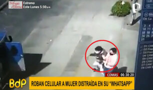 "Comas: roban a celular a mujer distraída escribiendo en su ""WhatsApp"""