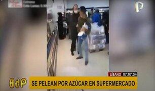 Líbano: hombres se pelean por una bolsa de azúcar en supermercado