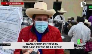 Rímac: ganaderos protestan por bajo precio de la leche