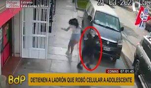 Comas: ladrón le arrancha celular a adolescente distraída
