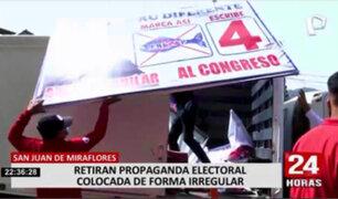 SJM: retiran propagandas electorales colocadas de forma irregular
