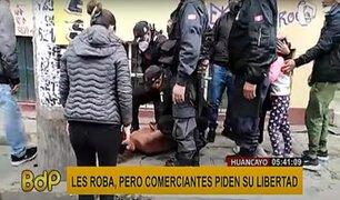 Huancayo: comerciantes piden la libertad de hombre que les robaba constantemente