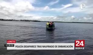 Policía desaparece tras naufragio de embarcación en Loreto