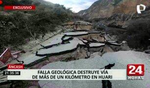 Áncash: falla geológica destruyó vía de más de un kilómetro en Huari