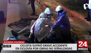 Ciclista sufre accidente ante falta de señalización por obras en ciclovía de Av. Colonial