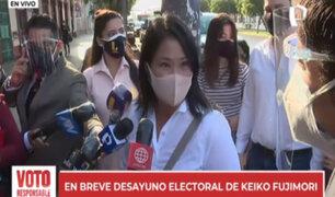 Keiko Fujimori: Vamos a tomar con mucha prudencia y serenidad los primeros resultados