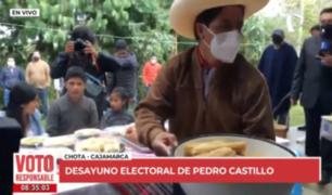 Así se desarrolla el desayuno electoral de Pedro Castillo en Cajamarca