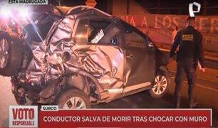 Surco: conductor se salva de morir tras impactar violentamente en un muro