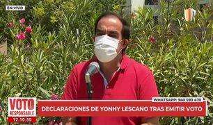 Lescano realizó su deber cívico y dijo que esperará los resultados en familia