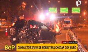 Surco: conductor salva de morir tras chocar contra muro en la Panamericana Sur