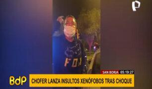 San Borja: conductor aparentemente ebrio impactó contra repartidores y les lanzó insultos racistas