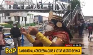 Candidato al Congreso por Cusco acude a votar vestido de inca