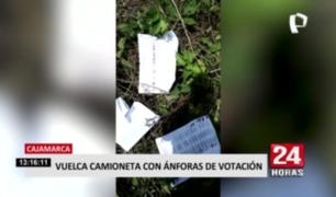 Elecciones 2021: camioneta con ánforas de votación sufre volcadura en Cajamarca