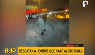 Callao: Agentes del Escuadrón de Emergencia rescatan a hombre que cayó al río Rímac