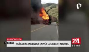 Huancavelica: tráiler se incendia en vía Los Libertadores