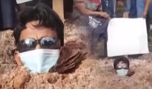 Iquitos: obrero se entierra para exigir sueldos atrasados