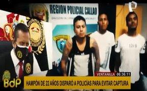 Delincuente de 22 años disparó a policías para evitar su captura