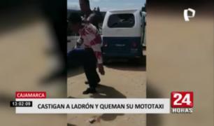 Castigan a ladrón y queman su mototaxi en Cajamarca