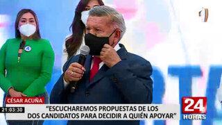César Acuña está dispuesto a escuchar las propuestas de los candidatos a la presidencia