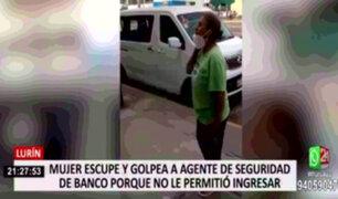 Lurín: mujer puso en riesgo la salud de agente de seguridad de banco tras escupirle