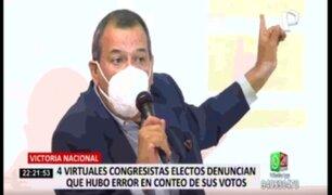 Virtuales congresistas electos de Victoria Nacional denuncian que hubo error en conteo de sus votos